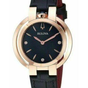 Bulova Diamond Quartz Black Strap 35mm Watch
